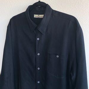 Tommy Bahama 100% Silk Black Button Down